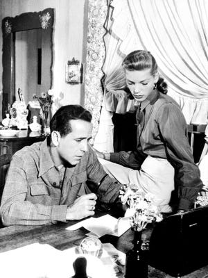 """Picture dated from 1948 of legendary US actor, director, producer Humphrey Bogart (1899-1957) beside his wife U.S. actress Lauren Bacall. From 1936 to 1940 Bogart appeared in 28 films, including """"Key Largo"""" in 1948."""