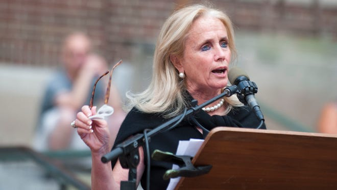 Congresswoman Debbie Dingell speaks during a rally on the campus of the University of Michigan.