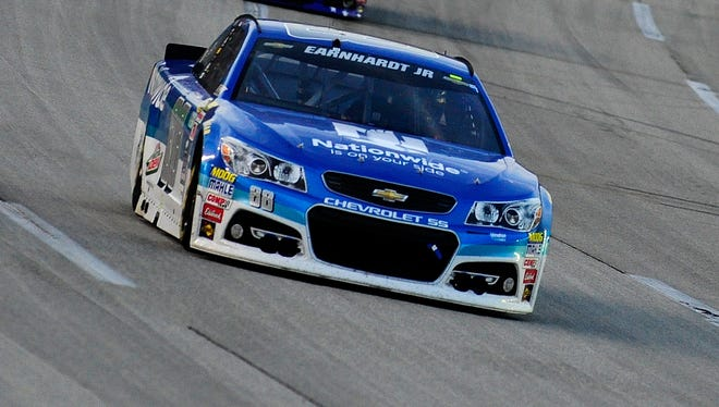 Dale Earnhardt Jr. was having brake problems with his No. 88 Chevrolet all night.
