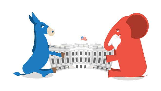 Republicans and Democrats share authority. Elephant and Donkey divide White house. Political presidential elections in USA.