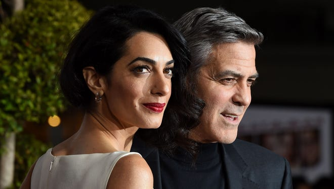 George Clooney and wife Amal in Westwood, Calif. in February 2016.
