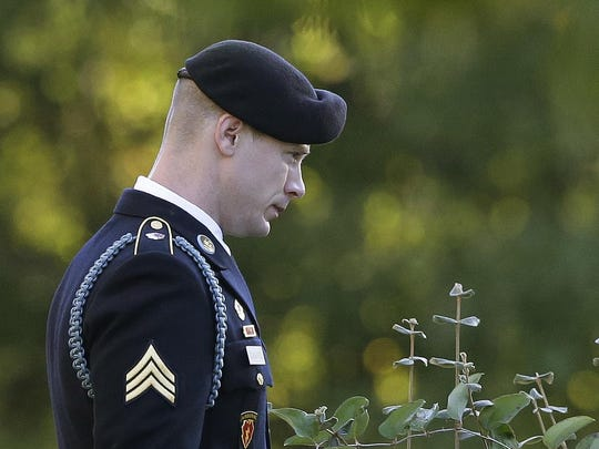 Army Sgt. Bowe Bergdahl leaves the Fort Bragg courtroom facility as the judge deliberates during a sentencing hearing at Fort Bragg, N.C., Friday, Nov. 3, 2017. The judge ruled that Bergdahl to get dishonorable discharge, lose rank, forfeit pay in addition to getting no prison time. Bergdahl, walked off his base in Afghanistan in 2009 and was held by the Taliban for five years, pleaded guilty to desertion and misbehavior before the enemy. (AP Photo/Gerry Broome)