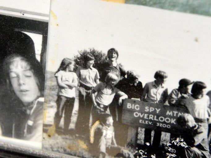 Older photographs on a bulletin board at Nature Camp near Vesuvius.