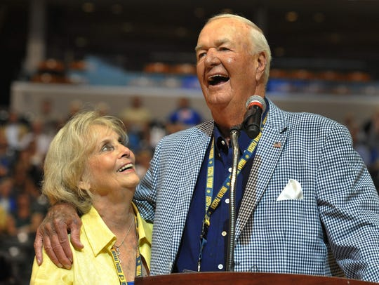 "Bobby ""Slick"" Leonard and wife, Nancy, laugh together"