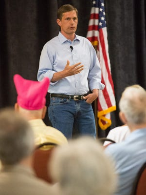 U.S. Sen. Martin Heinrich, D-N.M., speaks with constituents on Monday, April 17, 2017, during a town hall meeting at the Las Cruces Convention Center. Udall was joined by U.S. Sen. Tom Udall, D-N.M., to answer New Mexican's questions and to discuss important issues.