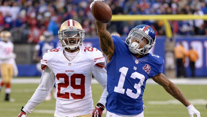 Giants wide receiver Odell Beckham (13) cannot make a catch on a long pass Sunday against San Francisco. Beckham is one of the many Giants to miss games with injuries this season.
