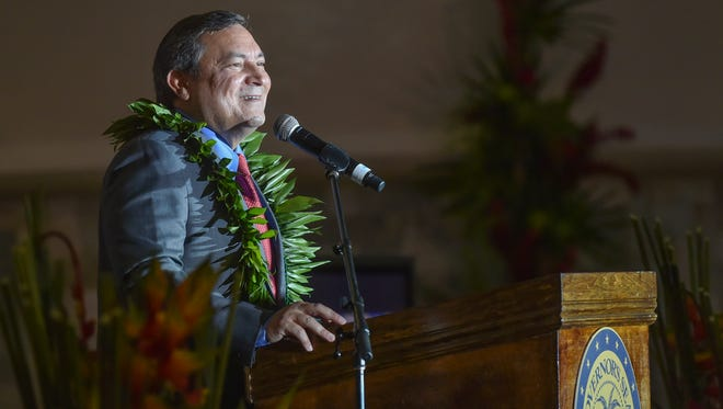 "Gov. Eddie Calvo delivers his annual State of the Island Address in front of the Guam Museum on March 31. ""Today, the state of our island is that of confidence,"" said Calvo."