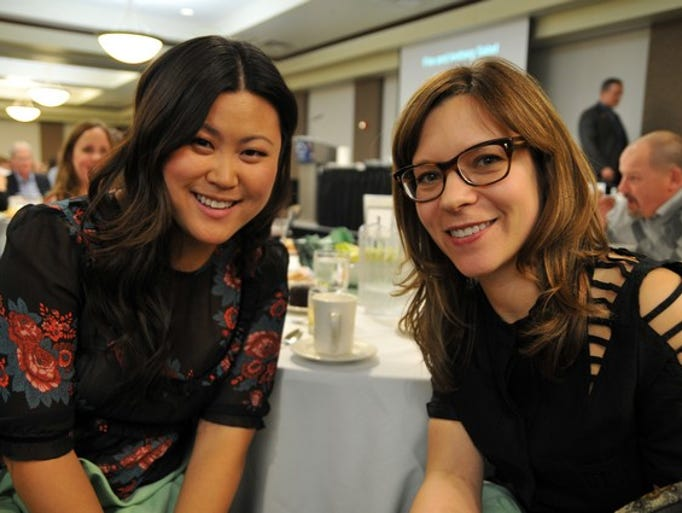 "Erin Bitzan and Amy Thielen, star of the Food Network series ""Heartland Table,"" pose for a photo together at the Stearns History Musuem fundraiser on Thursday, April 24, at the Gorecki Center at the College of St. Benedict in St. Joseph."
