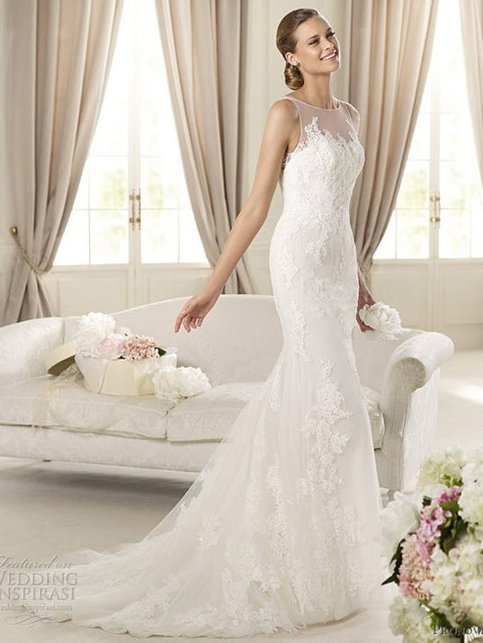 Wedding Dress Illusion Neck