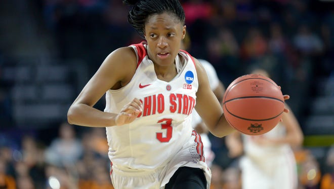 Ohio State Buckeyes guard Kelsey Mitchell (3) leads a break against the Tennessee Lady Volunteers in the second half of the semifinals of the Sioux Falls regional of the women's NCAA Tournament. Ohio State will play FGCU in the Gulf Coast Showcase in November