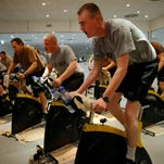 U.S. troops work out at a military base in Kandahar, Afghanistan.