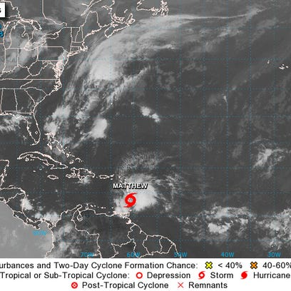 Tropical Storm Matthew forms near the Windward Islands,