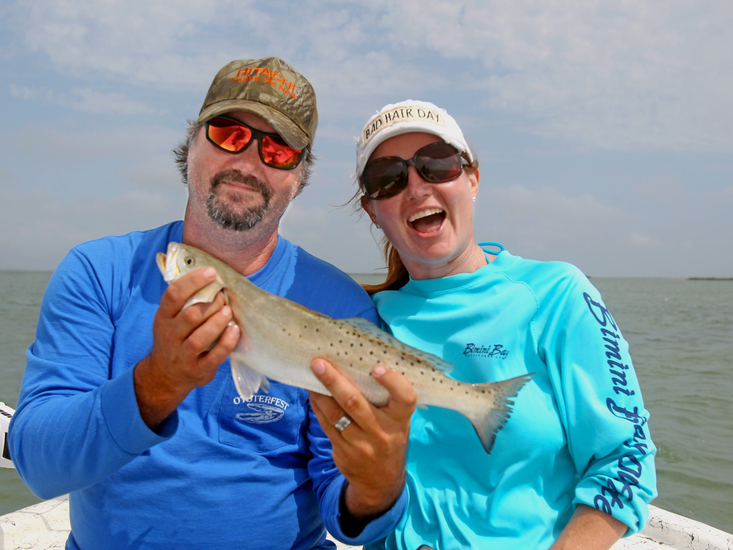 Rockport residents JP and Sam McCrary took some time off for fishing. The couple has fed and housed thousands as part of their Rockport Relief Camp.