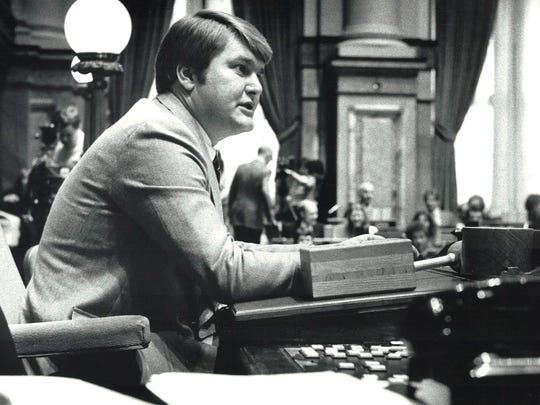 Donald Avenson sits at his desk in the Iowa House chambers in this undated photo.