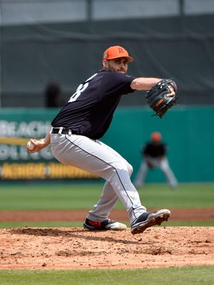Tigers starting pitcher Matt Boyd delivers a pitch against the Miami Marlins during a spring training game at Roger Dean Stadium on March 14, 2017.