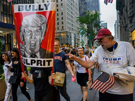 AP TRUMP TOWER PROTESTS A USA NY