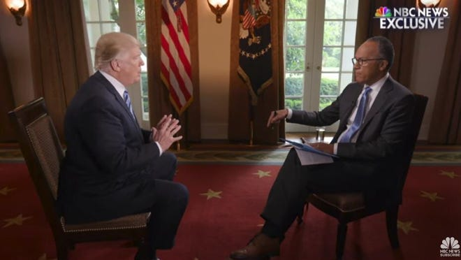 """In a tweet Thursday, Trump claims that NBC anchor Lester Holt was """"caught fudging"""" the May 2017 interview."""