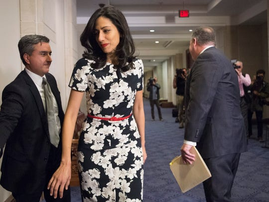 Huma Abedin, an aide to Hillary Clinton, heads into