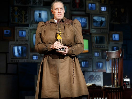 """Dan Chameroy plays the cruel Miss Trunchbull, the headmistress who tries to terrorize the title character in the national tour of """"Matilda the Musical."""" The stage adaptation of Roald Dahl's book runs through April 16 at the Aronoff Center as part of the Broadway in Cincinnati series."""