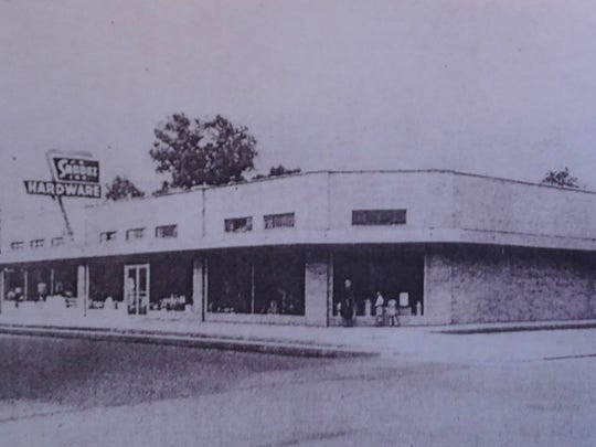 The third J.B. Sandoz Hardware Store, photo taken in 1953. This building still stands and is open for business
