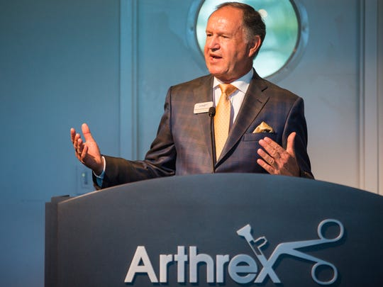 Arthrex founder Reinhold Schmieding gives a presentation detailing the company's upcoming expansion at the Arthrex corporate headquarters building in North Naples on Thursday, Nov. 9, 2017.