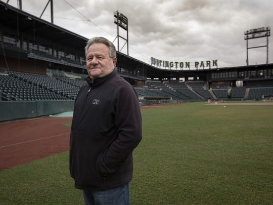 Columbus Clippers President and General Manager Ken Schnacke stands in right field while preparing for the upcoming season at Huntington Park in Columbus on Tuesday, March 17, 2020. The opening day game was originally scheduled for April 9, but the season has been postponed indefinitely due to the coronavirus.