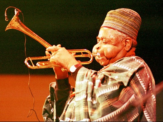 Dizzy Gillespie, pictured during the Monterey Jazz Festival in September 1990. Gillespie's 100th birthday will be celebrated Sunday at Crossroads in Garwood.