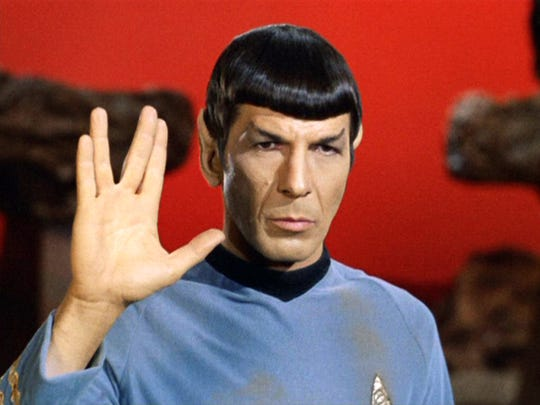 "Leonard Nimoy as Mr. Spock  in ""Star Trek: The Original Series"" episode 'Amok Time'. Spock shows the Vulcan salute, usually accompanied with the words, ""Live long and prosper."""
