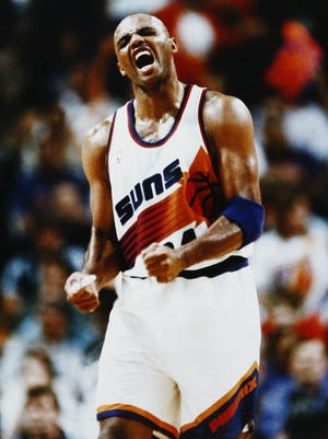 Phoenix Suns Charles Barkley roars in Game 7 against Seattle during the 1993 NBA Playoffs in Phoenix.