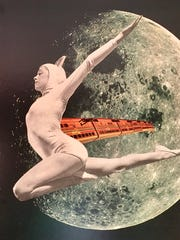 Transit From Crescent to Gibbous Collage by artisit Susan Strange.