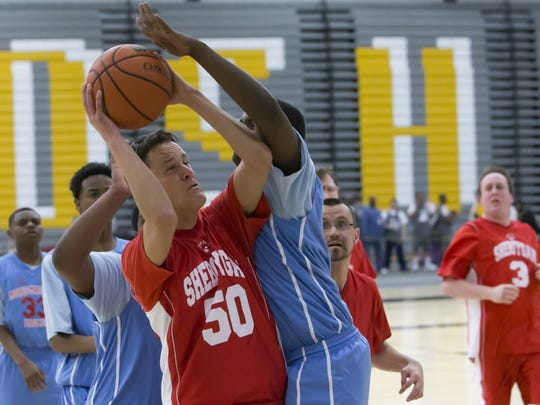 Sheboygan Rocket's Danny Kraus attempts a shot playing against the Morse Marshall team in the Special Olympics Wisconsin State indoor sports tournament at Kolf Sports Center in 2015. This year's games are April 8 and 9.
