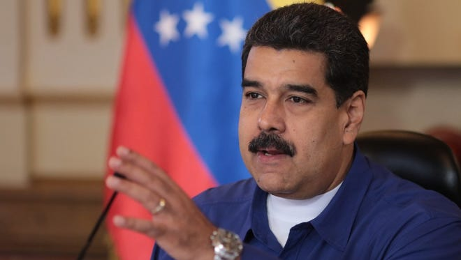 President Nicolas Maduro speaks during a government meeting in Caracas, Venezuela, on July 17.