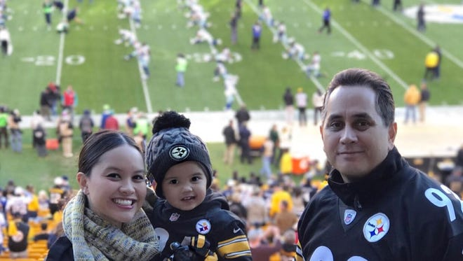 """Jesrae Moylan, left, is shown with her children Arabella and Apollo, and husband Troy at Heinz Field, Pittsburgh in late 2016. The Moylan Motto: """"Second place is the first to lose."""""""