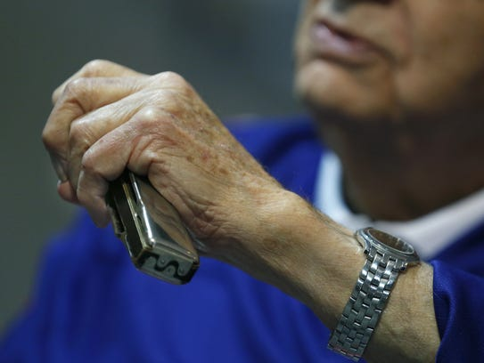 "93-year-old ""Harmonica Pete"" DuPre."