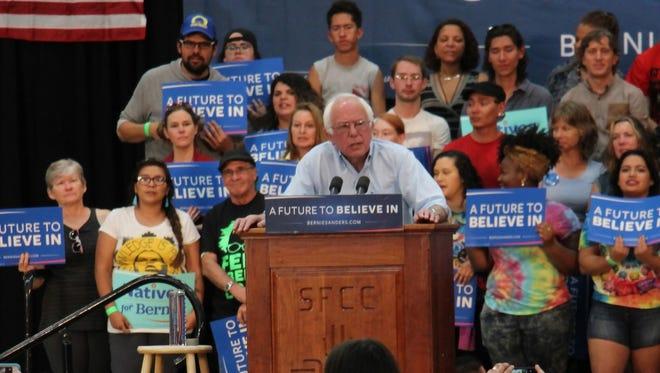 Bernie Sanders holds a rally at Santa Fe Community College.