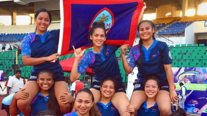 In this file photo, the Guam National Women's Rugby Team celebrated its second place win in the Asia Rugby Development Series Chennai Sevens Tournament held in India.