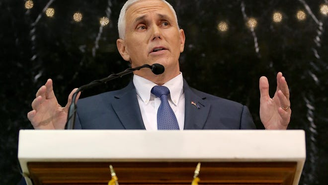 Gov. Mike Pence delivers his 2016 State of the State address Tuesday evening in the House chambers of the Indiana Statehouse.