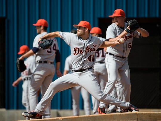 Tigers pitcher Matthew Boyd throws during a spring