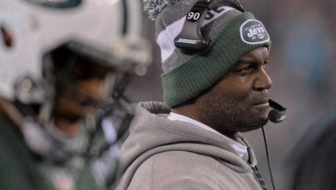 New York Jets head coach Todd Bowles watches from the sidelines during the fourth quarter of an NFL football game against the Miami Dolphins, Saturday, Dec. 17, 2016, in East Rutherford, N.J. (AP Photo/Bill Kostroun)