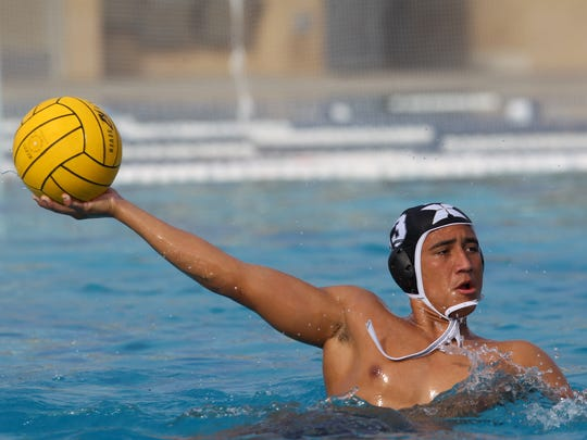 Xavier Prep's Brandon Sontz takes a shot on goal against Crescenta Valley at Palm Desert Aquatic Center on October 31, 2017. Xavier Prep advances to the second round of the CIF postseason play.