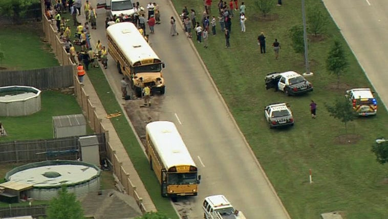 Two Crowley ISD school buses collided on April 27,