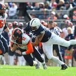 Penn State Nittany Lions defensive tackle Anthony Zettel (98) sacks Illinois Fighting Illini quarterback Wes Lunt (12) during the third quarter at Beaver Stadium.  Penn State won 39-0.