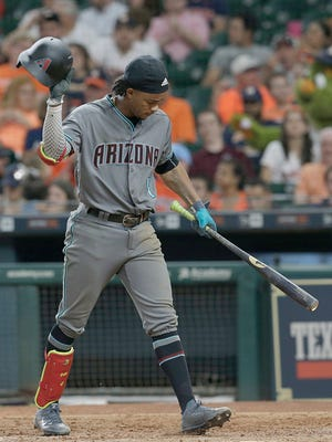 Aug 16, 2017; Houston, TX, USA; Arizona Diamondbacks shortstop Ketel Marte (4) reacts after striking out with men in scoring position against the Houston Astros in the seventh inning at Minute Maid Park. Mandatory Credit: Thomas B. Shea-USA TODAY Sports