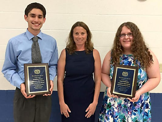 This year, the Jaycees again provided two $1,000 scholarships to graduating seniors. Littlestown Jaycees past president, Jennifer Sites, center, presented Jonathan Perez, left, and Carly Keilholtz each with $1,000 toward their college tuition.