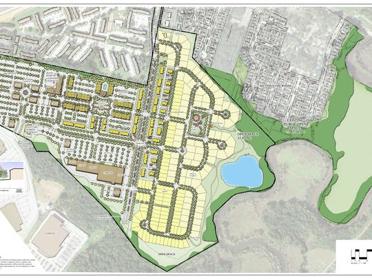 Carlino Commercial Development provided conceptual plans for the mixed-use development proposed for the 145-acre Cavaliers Country Club off of Churchmans Road next to the Christiana Mall.