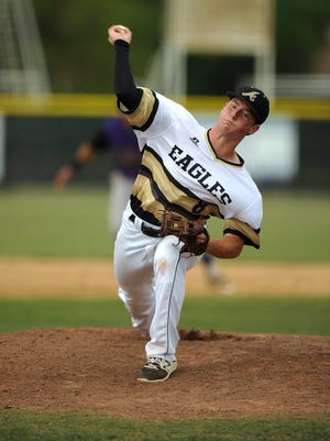 Abilene High pitcher Andrew Bennett (8) throws a pitch during the top of the fifth inning of the Eagles' 7-3 win over Keller Timber Creek on Friday, April 28, 2017, at AHS's Blackburn Field.