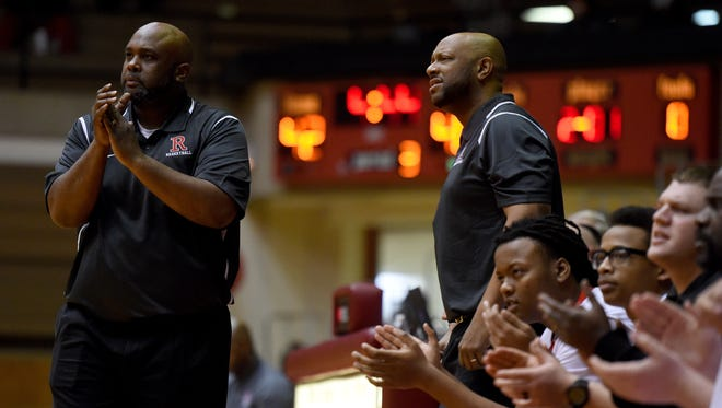 Richmond Coach Rick Wedlow left, won a state championship with Gary Roosevelt in 1991, when assistant Brad Wright, right, was a senior at Richmond.