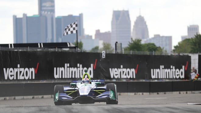 Alexander Rossi drives in Race 2 in the Chevrolet Detroit Grand Prix on Belle Isle on June 3.