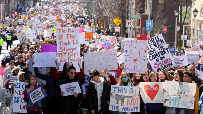 Thousands marched in White Plains, N.Y. as they took part in the  March for Our Lives rally March 24, 2018.