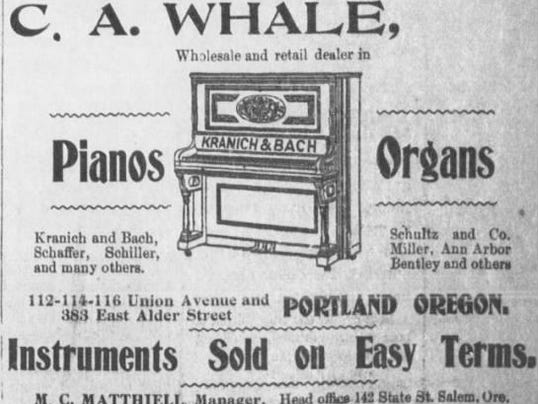Ad - C.A. Whale Pianos